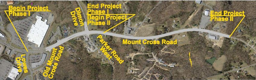 Aerial image of Mount Cross road with project outlined in yellow