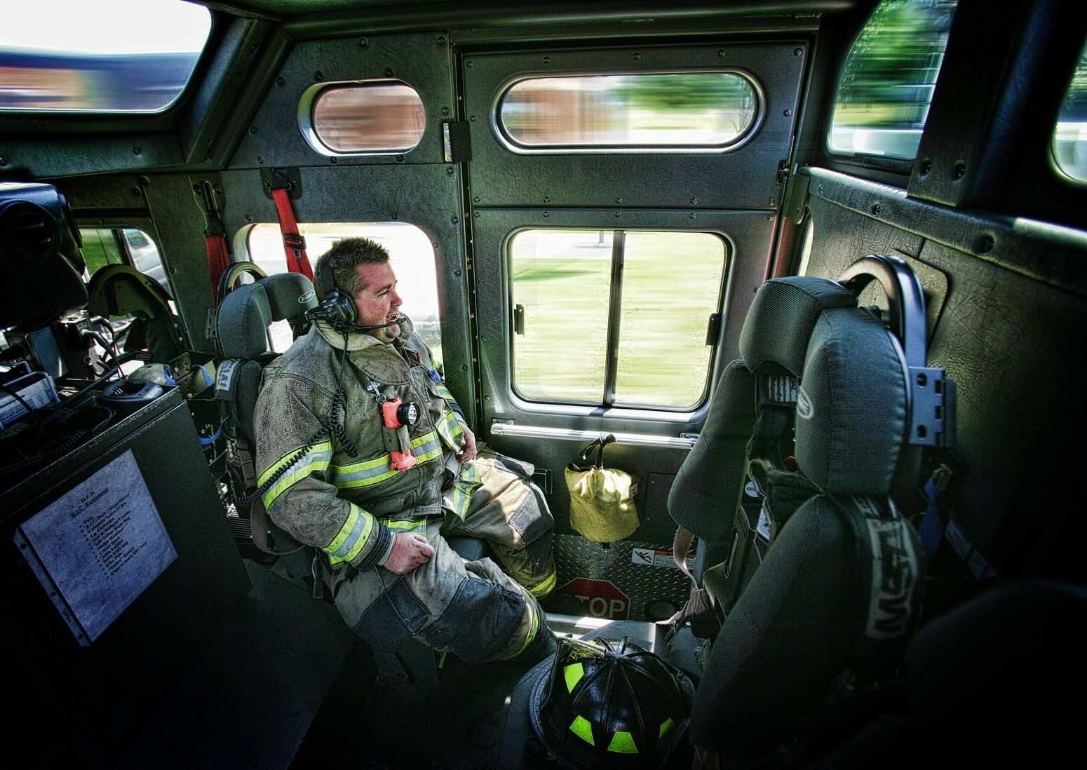 Firefighter Inside Moving Fire Truck
