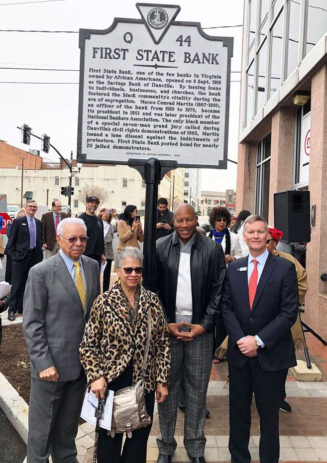 Mayor Alonzo Jones poses for photo following First State Bank historical highway marker dedication.