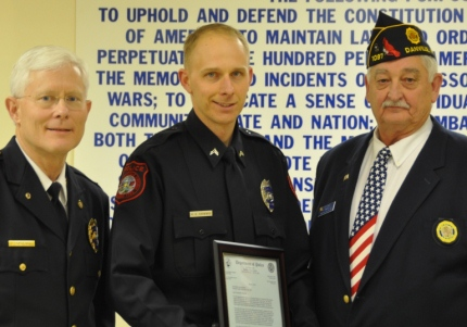Cpl R E Chivvis Receiving the American Legion Post 1097 Police Officer of the Year Award 2013