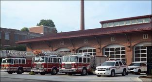 Exterior photo of fire truck bays at Station No. 1 on Lynn Street